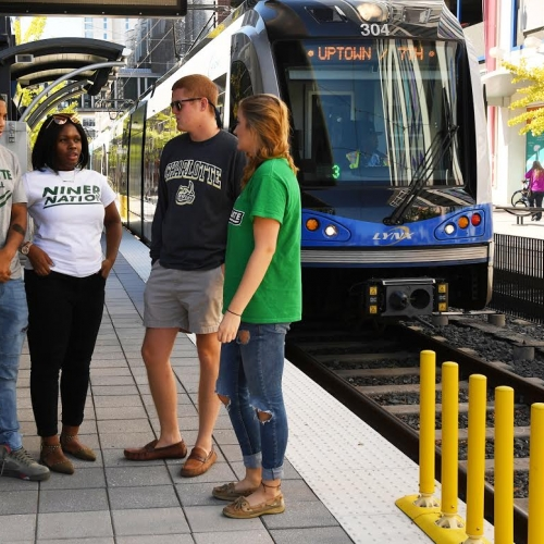 UNC Charlotte students at 9th Street station
