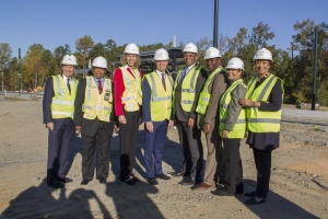 U.S. Transportation Secretary Anthony Foxx, Chancellor Dubois, CATS executives and local elected officials visit the Light Rail site