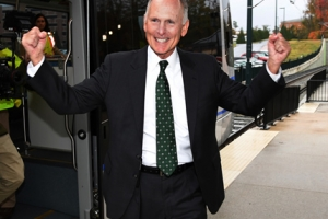 Chancellor Dubois exits the LYNX Blue Line Extension after a successful test run.