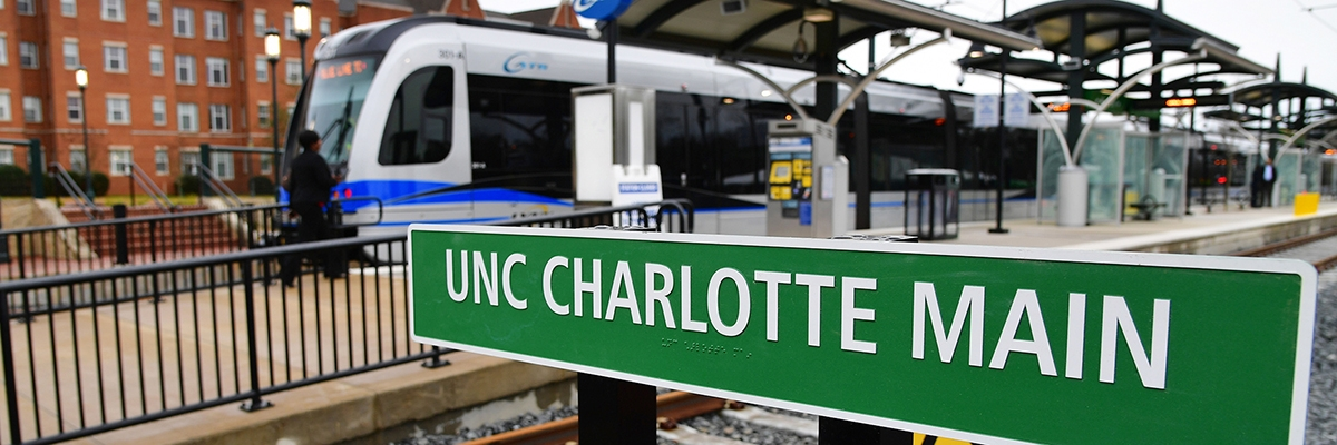 UNC Charlotte Main station with train
